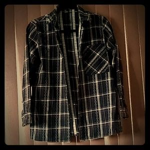 Forever 21 plaid long sleeved collared shirt